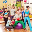 Group in aerobics class. - Stock Photo