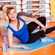 Happy women in aerobics class. — Stock Photo