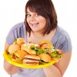 Woman holding hamburger. — Stock Photo #10526736