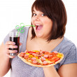 Stock Photo: Woman eating fast food.