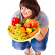 Girl weight loss on scales. — Stock Photo #10526757