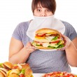 Royalty-Free Stock Photo: Woman refusing fast food.