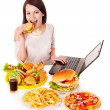 Woman eating junk food. — Stock Photo #10526783