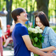 Couple of teenager on date outdoor. — Stock Photo