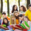 Group student with notebook outdoor. - Foto Stock