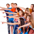Group pointing. - Stockfoto