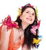 Chica en primavera peinado y maquillaje. — Foto de Stock