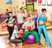 Group in aerobics class. — 图库照片