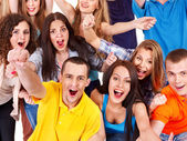 Grupp sport fan hurra för. — Stockfoto