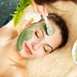 Woman having clay facial mask apply by beautician. — Stock Photo #10540675