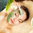 Woman having clay facial mask apply by beautician. - Stock Photo