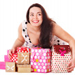Woman holding gift box at birthday party. — Stock Photo #10540789