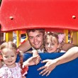 Family and group children in playground. — Stock Photo