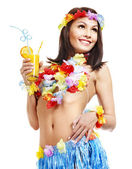 Woman in costume of Hawaii. — Stock Photo