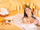 Woman take bubble bath. — Foto de Stock