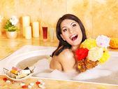 Young woman take bath. — Stock Photo