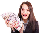 Woman with money. — Stock Photo