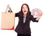 Mulher com o rublo russo dinheiro e sacola de compras. — Fotografia Stock