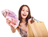 Woman with money Russian rouble. — Stock Photo