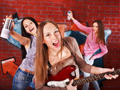 Group with guitar. — Stock Photo