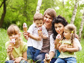 Outdoor family with kids on green grass. — Stock Photo