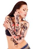 Girl with body art. — Stock Photo