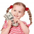 Happy child with money dollar. — Foto Stock
