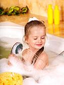 Kid washing in bath. — Stock Photo