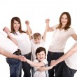 Happy family with group children. — Foto de Stock