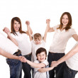 Stock Photo: Happy family with group children.