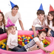 Happy family, birthday of children. — Stock Photo