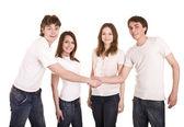 Happy family in whit t-shirt shake hand. — Stock Photo