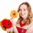 Happy young woman holding flowers. — Stock Photo #8632886