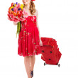 Traveling young woman with wheeled luggage — Stock Photo #8633022