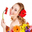 Young woman holding flower. — Stock Photo #8633029
