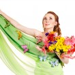 Young woman holding flowers. — Stock Photo #8633051