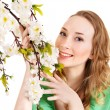 Beautiful girl with spring flower. — Foto Stock