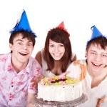Group eat cake. — Stock Photo