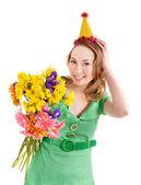 Giovane donna con cappello di partito. — Foto Stock