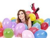 Linda menina com ballon. — Fotografia Stock