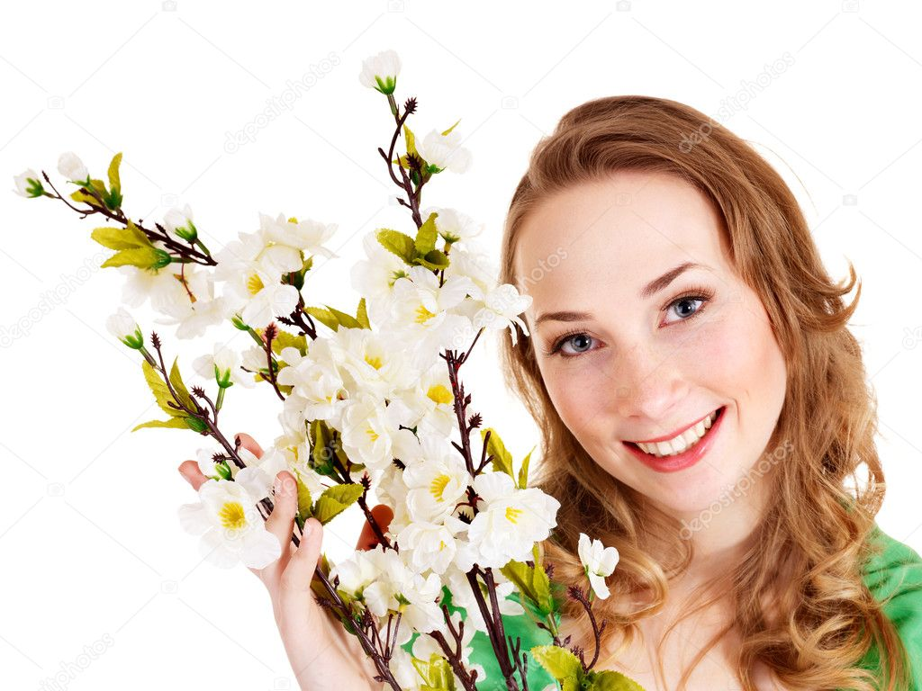 Beautiful girl with spring flower. Isolated. — Stock Photo #8633061