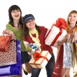 Stock Photo: Group girl with shopping bag and gift box.