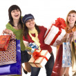 Group girl with shopping bag and gift box. — Stock Photo