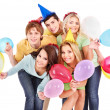 Group of young in party hat. — Stock Photo #8642119