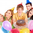 Group holding cake. — Foto de Stock   #8642128