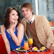 Couple on date in restaurant. — Stock Photo #8644389