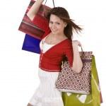 chica feliz con bolsa de compras — Foto de Stock