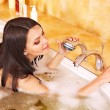 Woman take bubble  bath. — Lizenzfreies Foto