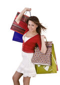 Happy girl with shopping bag. — Stock Photo