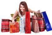 Menina com sacola de compras. isolado. — Foto Stock
